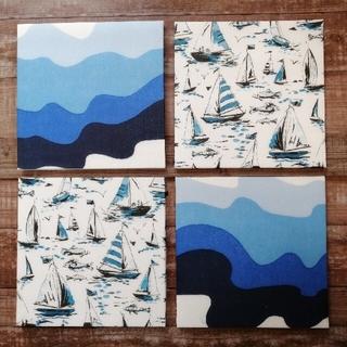 4042インテリアパネル ヨットハーバー海ヨット&ブルーオーシャンなみなみ涼しげ(アート/写真)