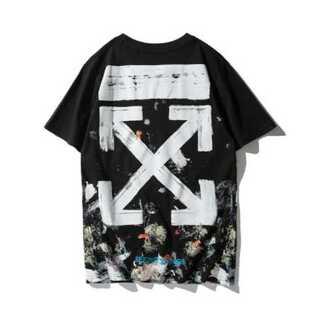 ペイント メンズ Tシャツ 黒 ブラック オフホワイト レディース (Tシャツ/カットソー(半袖/袖なし))