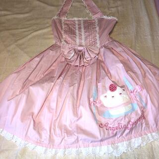 アンジェリックプリティー(Angelic Pretty)のケーキアップリケサンドレス ピンク+キャンディーキャノティエセット (ひざ丈ワンピース)