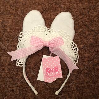 Angelic Pretty - Ribbon Bunny Cafeカチューシャ 白×ピンク