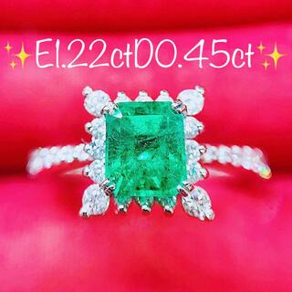 ★1.22ct★✨大粒エメラルド&0.45ctダイヤモンドプラチナリング指輪(リング(指輪))