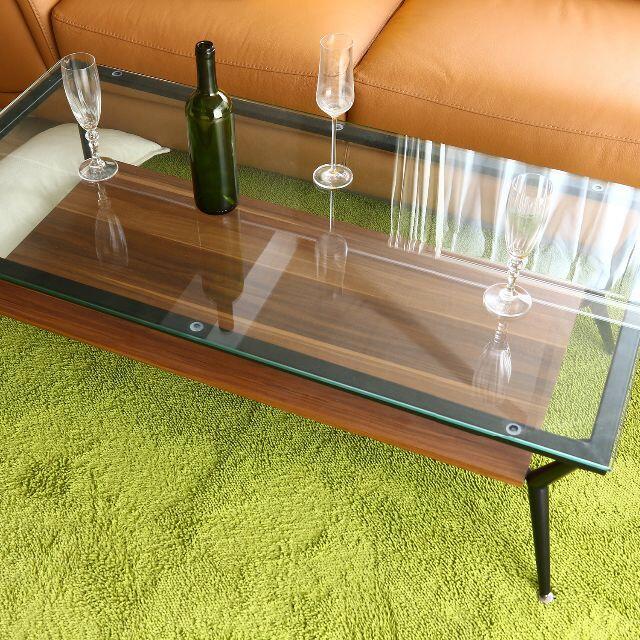 ガラス天板 3素材リビングテーブル 幅120cm ダークブラウン インテリア/住まい/日用品の机/テーブル(ローテーブル)の商品写真