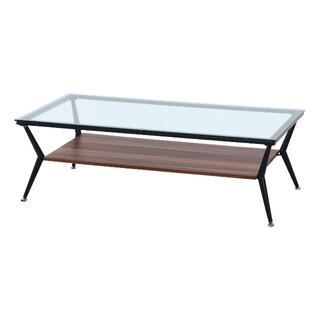 ガラス天板 3素材リビングテーブル 幅120cm ダークブラウン(ローテーブル)