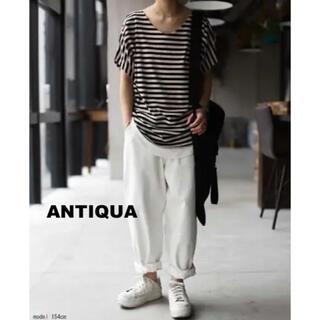 アンティカ(antiqua)の【antiqua】ボーダードルマントップス(カットソー(半袖/袖なし))
