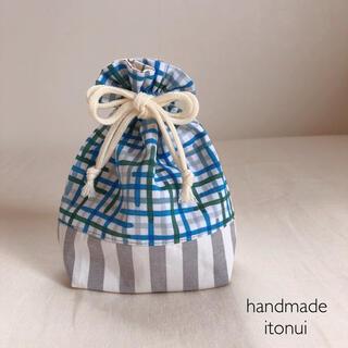 ミナペルホネン(mina perhonen)のミナペルホネン minamo ハンドメイド リバーシブル巾着袋(外出用品)