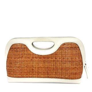ペリーコ(PELLICO)のペリーコ PELLICO かごバッグ ハンドバッグ かご レザー 白 茶 (かごバッグ/ストローバッグ)