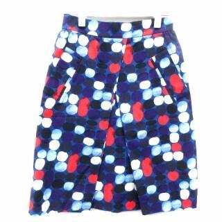 マリメッコ(marimekko)のマリメッコ フレアスカート ひざ丈 ドット 34 S 青 ブルー 赤 レッド(ひざ丈スカート)