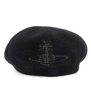 ヴィヴィアンウエストウッド(Vivienne Westwood)のヴィヴィアンウエストウッド ベレー帽 帽子 オーブ 刺繍 ウール M 黒(ハンチング/ベレー帽)