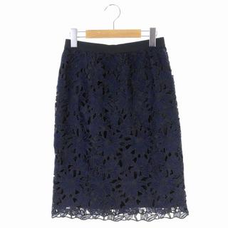 ANAYI - アナイ 花柄レースタイトスカート ひざ丈 36 紺 黒 ネイビー ブラック