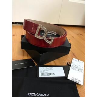 ドルチェアンドガッバーナ(DOLCE&GABBANA)のドルチェ&ガッバーナ D&G ベルト 赤 革 80 鰻 スワロフスキー(ベルト)