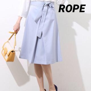 ロペ(ROPE)の美品 ROPE 定価15120 サックスブルー 膝丈スカート(ひざ丈スカート)