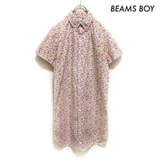 ビームスボーイ(BEAMS BOY)のBEAMS BOY ビームスボーイ★小花柄 半袖シャツワンピース ピンク(ひざ丈ワンピース)
