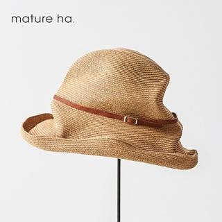 ネストローブ(nest Robe)の美品希少mature ha.✨マチュアーハ 11cmボックスハット レザーベルト(麦わら帽子/ストローハット)