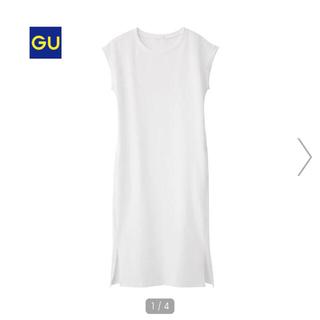 GU - GUフレンチスリーブロングT Tシャツワンピースポケット付き