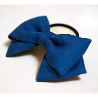 青 リボン ヘアゴム 髪飾り コスプレ衣装小物 ハンドメイド ブルー コミケ(ヘアゴム/シュシュ)