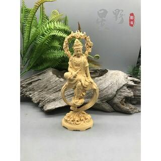水月自在観音菩薩 精密彫刻 極上品 美術工芸品 木製仏像 仏教美術品(彫刻/オブジェ)