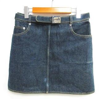 シャネル(CHANEL)のシャネル ヴィンテージ 96P デニムスカート ココマーク ステッチ 40(ひざ丈スカート)