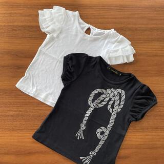 エーキャンビー(A CAN B)のA can B フリルTシャツ リボンプリントTシャツ(Tシャツ/カットソー)