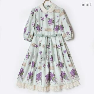 Leur Getter - 新品未使用♡メロディバスケット 菫の花束series 袖付きワンピース ミント