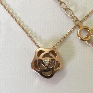 4℃ - 4℃ K18PG K18 ピンクゴールド ミレダイヤモンド 花モチーフネックレス