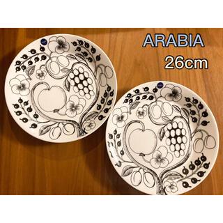アラビア(ARABIA)のアラビア ブラック パラティッシ 26㎝ プレート 2枚 新品 送料込み(食器)