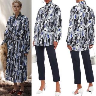 ロンハーマン(Ron Herman)の定価13万・美品 MARNI アフリカンバティックプリントハイカラーシャツ 38(シャツ/ブラウス(長袖/七分))
