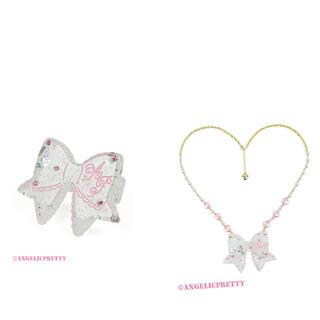 アンジェリックプリティー(Angelic Pretty)のangelic pretty きらめきリボンリング とネックレス シロ(ネックレス)