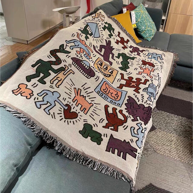 Keith Haring マルチカバー インテリア/住まい/日用品のソファ/ソファベッド(ソファカバー)の商品写真