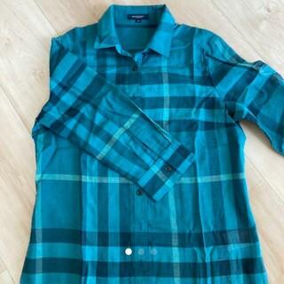 バーバリー(BURBERRY)のバーバリー レディース正規品グリーン ブルーのチェック柄 長袖L(シャツ/ブラウス(長袖/七分))