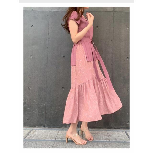 snidel(スナイデル)のsnidel♡ ニットxプリントスカートSETワンピース♡ レディースのレディース その他(セット/コーデ)の商品写真