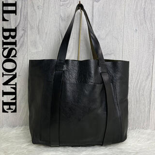 IL BISONTE - 美品♡A4収納可♡イルビゾンテ レザー トートバッグ ブラック エンボスロゴ