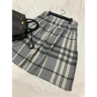 バーバリー(BURBERRY)の美品 バーバリー ロンドン シルク スカート チェック(ひざ丈スカート)