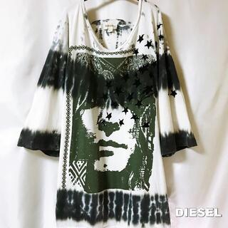 ディーゼル(DIESEL)の【DIESEL】フロントブレイブ総柄 ビックシルエット Tシャツ(Tシャツ/カットソー(七分/長袖))