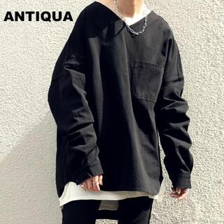 アンティカ(antiqua)の【antiqua】新品未使用 シャツプルオーバー(シャツ/ブラウス(長袖/七分))