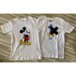 Disney - Disney ミッキー 半袖Tシャツ 130cm 白 2枚セット 綿100%