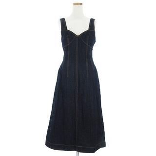 LE CIEL BLEU - ルシェルブルー シェイプライン デニム ドレス ワンピース ロング丈 紺系 36