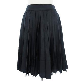 ハロッズ(Harrods)のハロッズ スカート ひざ丈 プリーツ ポリコットン 濃紺 ネイビー 1(ひざ丈スカート)