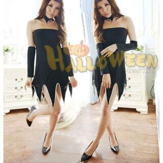 送料無料bd57人気の魔女コスプレ 衣装 ギザギザカットチョーカーロンググローブ(衣装一式)
