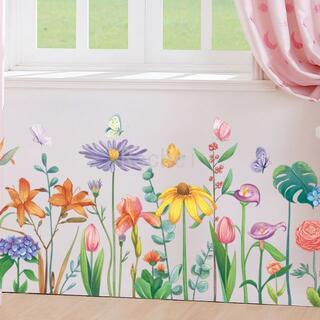 新作!ウォールステッカーF63 小花 ガーデン カラフル 陽気 フラワー(アート/写真)