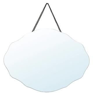 イケア(IKEA)のIKEA ウェーブミラー 鏡 壁掛けミラー ロッサレッド(壁掛けミラー)