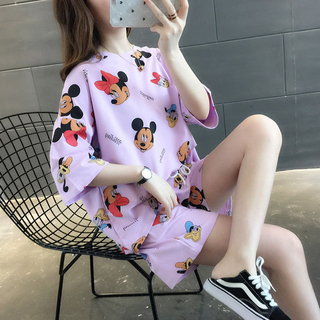 夏新作 パジャマ ルームウエア 半袖 紫(パジャマ)
