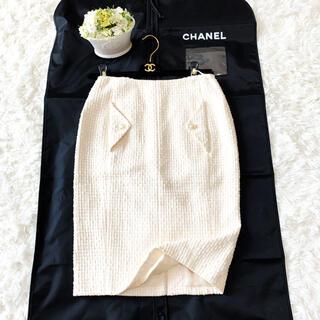 シャネル(CHANEL)の美品 CHANEL シャネル パール サマーツイード エレガント スカート(ひざ丈スカート)