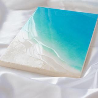 穏やかな海 海のアートパネル F4 レジンアート エメラルドブルー(アート/写真)