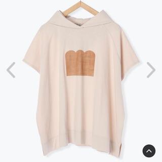 サマンサモスモス(SM2)のSamansa Mos2 【ねこねこ食パン】食パンプリントパーカー ベージュ(Tシャツ(半袖/袖なし))
