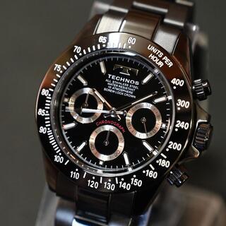 TECHNOS - テクノス 限定品 オールブラック T4685BB メンズ腕時計 クロノグラフ