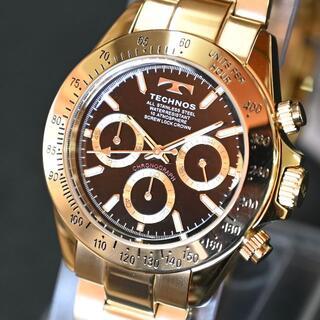 TECHNOS - テクノス 限定品 ゴールド 金色 T4684GB メンズ腕時計 クロノグラフ