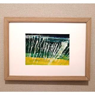 原画【波】抽象画 インテリア 絵画 手書き アートパネル 緑黄色イエロー(アート/写真)