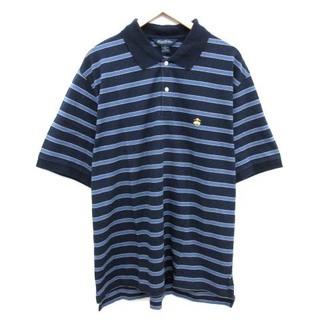 ブルックスブラザース(Brooks Brothers)のブルックスブラザーズ ポロシャツ 半袖 ボーダー ロゴ刺繍 XL 紺 ■EC(ポロシャツ)