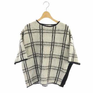 ADORE - アドーア ニット セーター ウール混 モヘア チェック 5分袖 38 白 黒