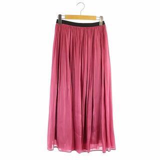 グレースコンチネンタル(GRACE CONTINENTAL)のグレースコンチネンタル サテン ギャザー スカート ロング 36 ピンク 黒 (ロングスカート)